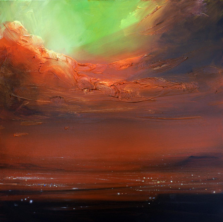 Grüner Himmel und große Wolke über der Stadt, 2020, Öl auf Leinwand, 80 x 80 cm