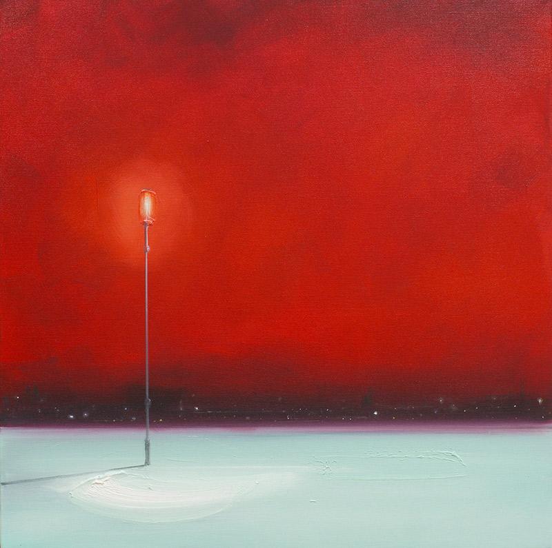 Laterne, roter Himmel, hellgrüner Platz, 2020, Öl auf Leinwand, 80 x 80 cm