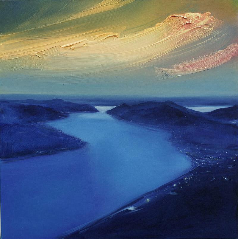 Lugano, blaue Stunde, 2020, Öl auf Leinwand, 60 x 60 cm