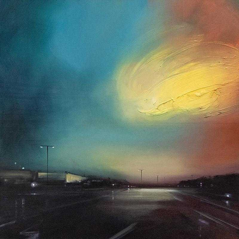 Straße und gelbes Licht, 2021, Öl auf Leinwand, 80 x 80 cm