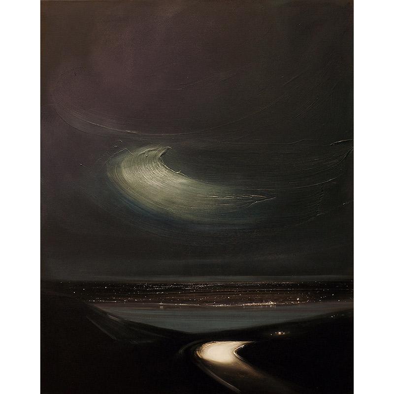 Straße zum See bei Nacht, 2018, Öl auf Leinwand, 100 x 80 cm